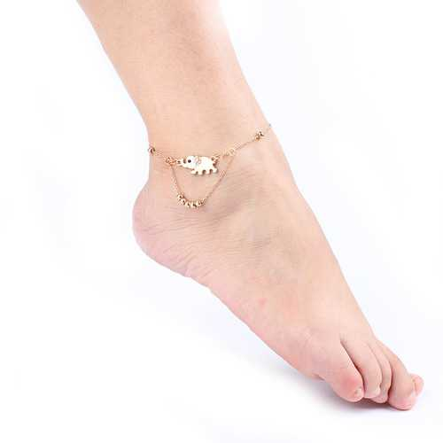 Fashion Elephant Diamond Beaded Anklets Jewelry for Women