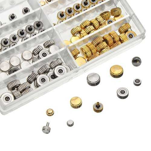 150pcs Mixed Silver Gold Watch Crown Watch Accessories Parts