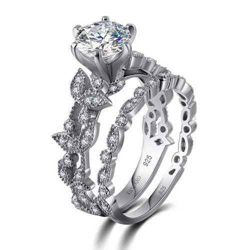 Sweet Zircon Ring Set Leaf Valentine's Day Gift for Women