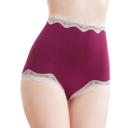 Cotton High Waist Lace Trim Hip Shaping Breathable Panties