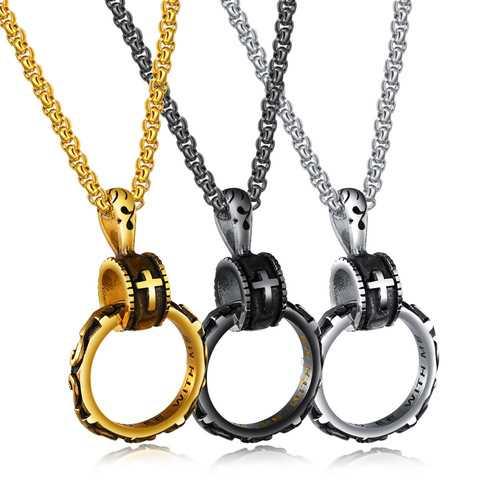 Christian Eternal Life Pendant Cross Titanium Steel Necklace