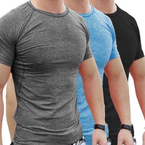 Summer Men Gym Muscle Short Sleeve Shirt Bodybuilding Sport Fitness Wear Tights T-shirts Tops Blouse