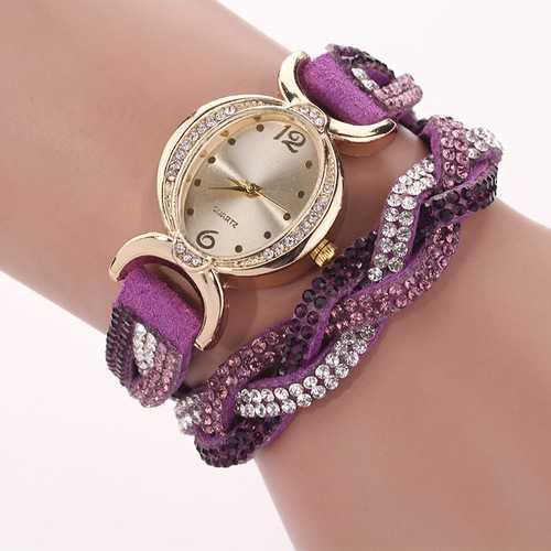 DUOYA D014 Rhinestones Elegant Leather Strap Bracelet Watch