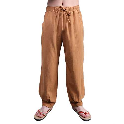 Chinese Wind Mens Loose Cotton Linen Trousers