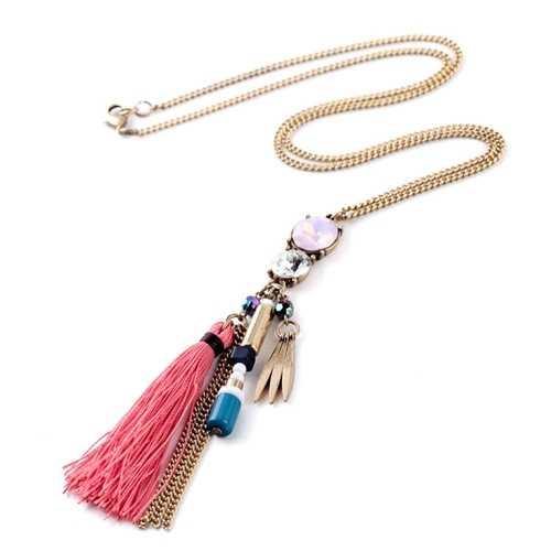 Fashion Tassel Zinc Alloy Rivet Long Necklace Sweater Chain