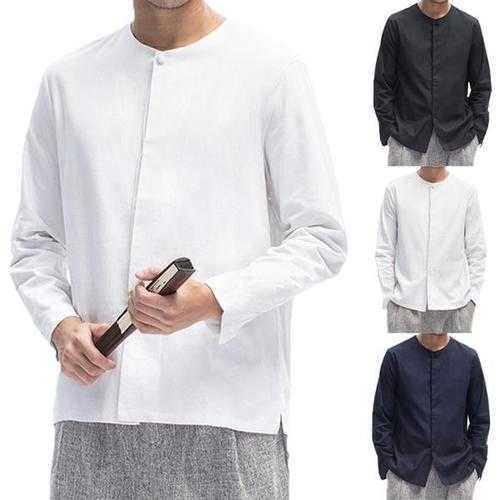 Chinese Style Mens Crew Neck Cotton Linen T-shirt
