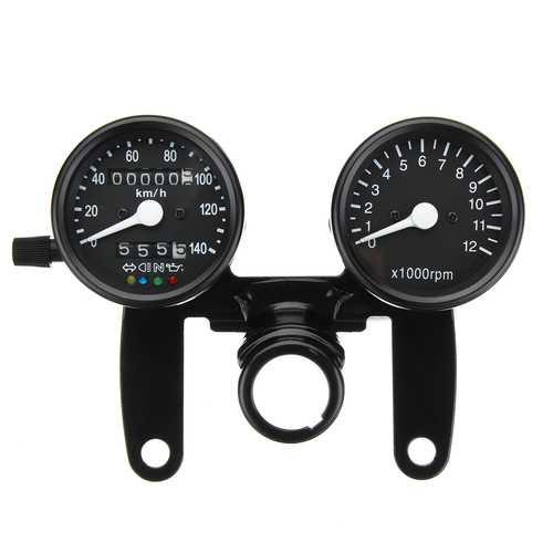 12V Motorcycle LED Backlight Odometer Tachometer Speedometer Dual Gauge Meter With Bracket Universal