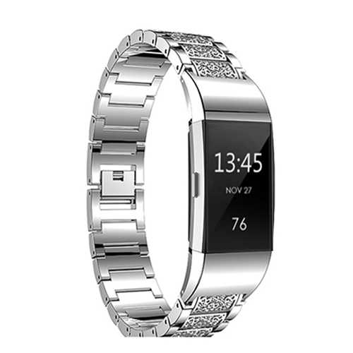 Replacement Diamond Stainless Steel Replace Watch Strap Band For Fitbit Charge 2