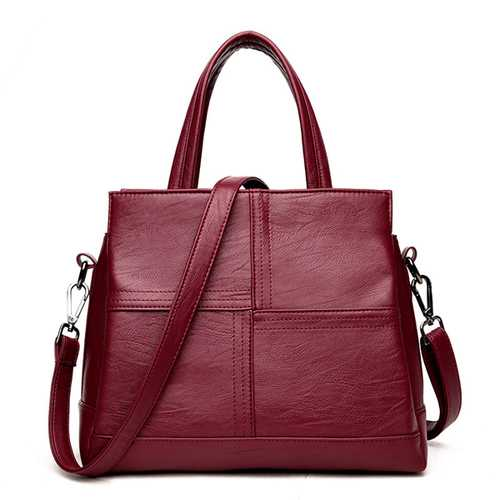 3 Main Pockets Women Casual PU Leather Handbag