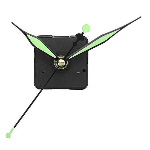 20mm Shaft Length Green and Black Luminous Hands DIY Silent Quartz Clock Wall Movement Replacement Mechanism