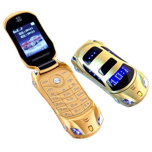 NEWMIND F15 Flip Cellphone 1.8'' 800mAh Flashlight Mp4 FM Radio Dual Sim Car Model Mini Card Phone