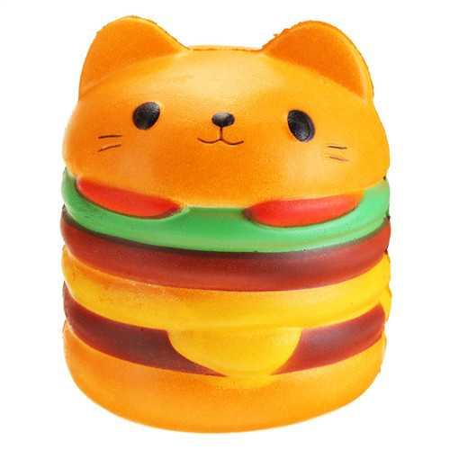 11*10CM Squishy Cute Hamburger Cat Slow Rising Cartoon Scented Bread Soft Fun Toy