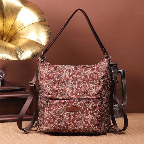 Brenice National Floral Travel Women Backpack Crossbody Bag