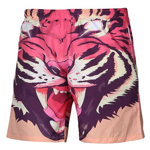 3D Tiger Printing Casual Beach Quick Drying Board Shorts