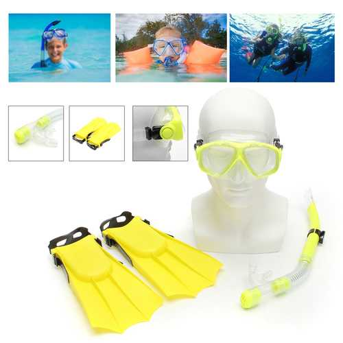 Kid Snorkel Mask Scuba Goggles + Breathing Tube+ Webbed Feet Swimming Diving Set