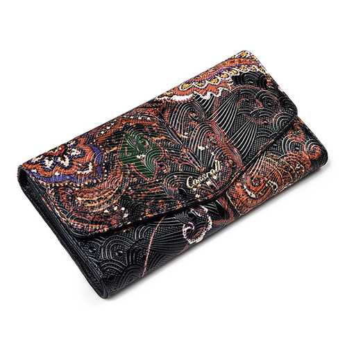 Brenice Genuine Leather Long Wallet National Chinese Style Purse Card Holder