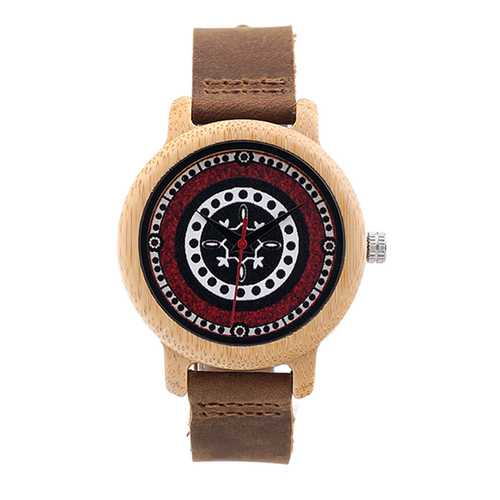 BOBO BIRD C-J19 Retro Style Wood Leather Strap Wrist Watch