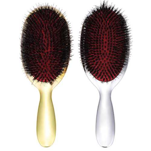 Anti-static Hair Brush Electroplate Massage Comb Handle Tang