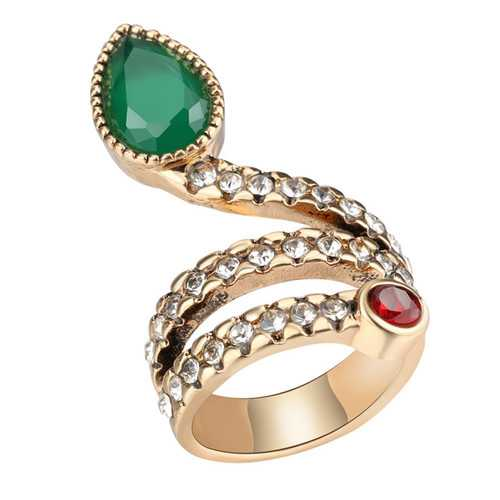 Fashion Snake Serpent Green Cubic Zirconia Crystal Ring