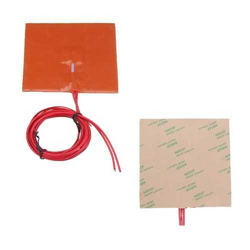 100*100mm 12V 50W Silicone Heated Bed Heating Pad w/ Thermistor For 3D Printer