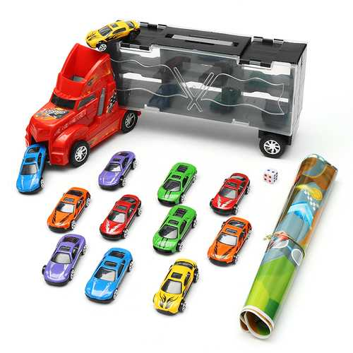 DiBang Container Truck With 12 Alloy Car Puzzle Simulation Car Model Chess Sound Toy Gift