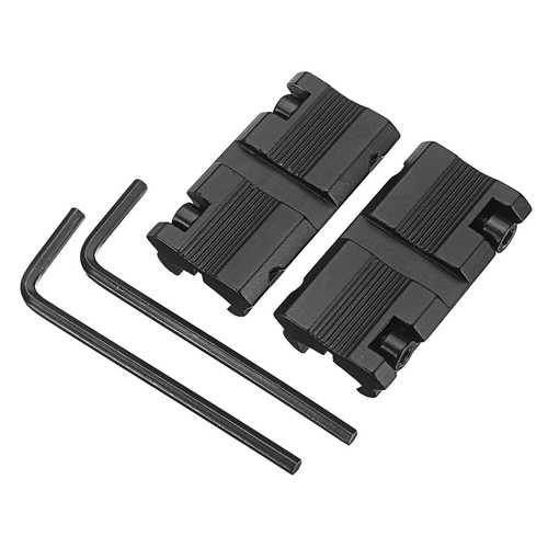2Pcs 11mm Dovetail to 20mm Picatinny Weaver Rail Converter Adapter Scope Mount w/ Wrench