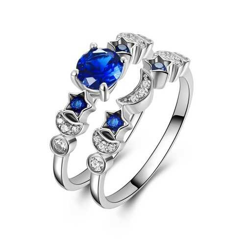 Trendy Sapphire Star Moon Ring Set Jewelry Gift for Women