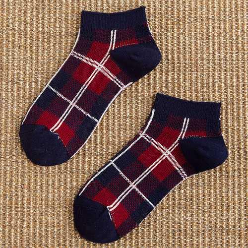 Ladies Plaid No Show Breathable Ankle Socks Low Cut Socks