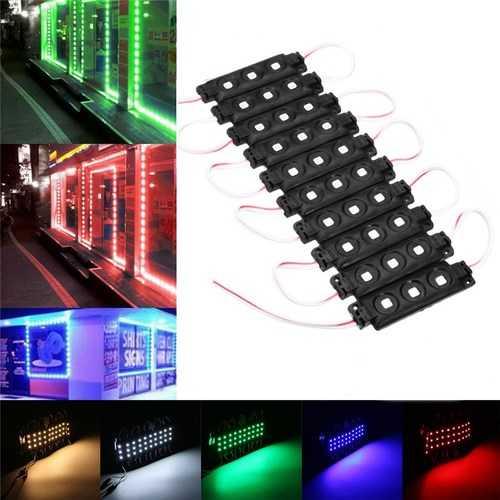 10PCS SMD5050 Waterproof 3LEDs Module Colorful Decorative Strip Light for Home DC12V