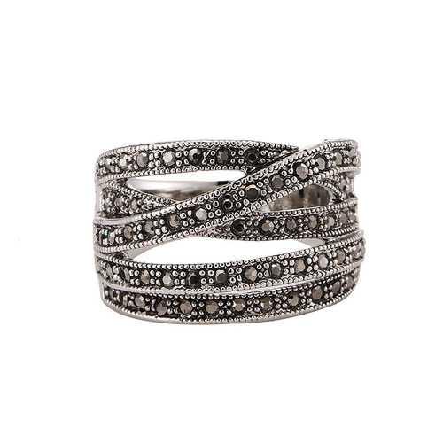 Retro Rhinestone Multilayers Cross Women Finger Ring