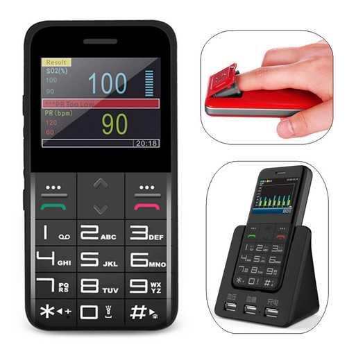 Bakeey YL-1 2.31'' 1500mAh Heart Rate Blood Oxygen SOS GPS Pedometer Single SIM Card Health Mini Card Phone