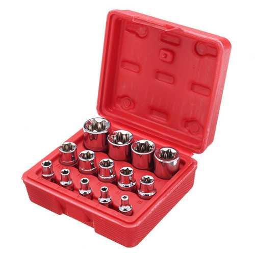 14pcs 1/4 3/8 1/2 Inch Driver Socket E Torx Star Bit Socket with Box