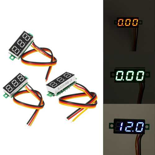0.28 Inch Mini Digital Battery Voltage Checker Voltmeter DC 0-100V 3 Cables with Protection