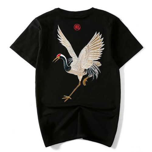 Chinese Style National Wind Embroidery Crane Cotton T-shirts