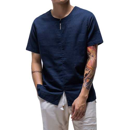 Chinese Wind Fashion Men's Linen Cotton Casual T-shirts