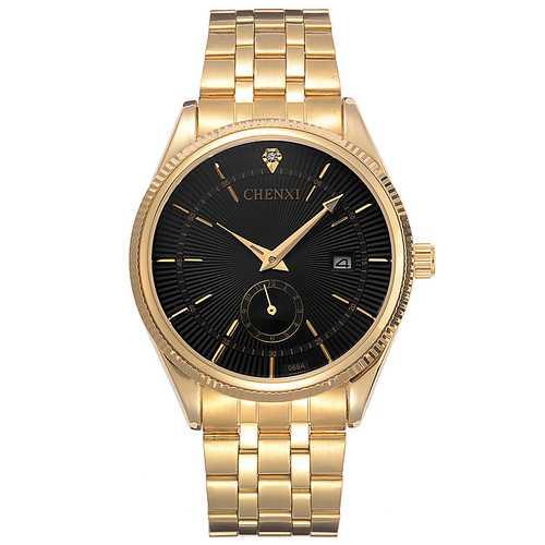 CHENXI 069A Calendar Gold Case Casual Men  Wrist Watches