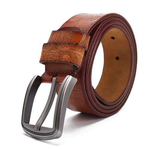 125CM Men Business Cow Leather Belt with Anti-Scratch Buckle