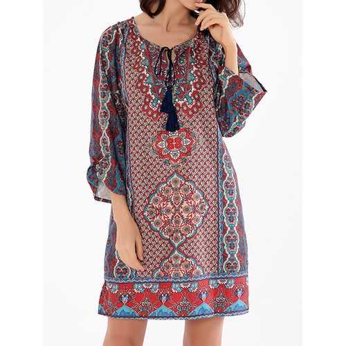 Bohemian V-Neck Mini Dress
