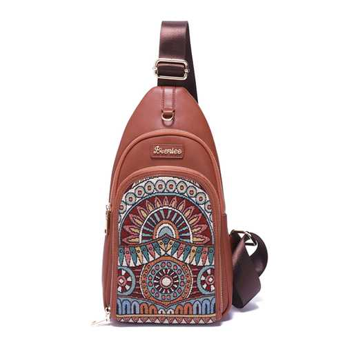 Brenice Vintage Embroidery Chest Bags Crossbody Bags