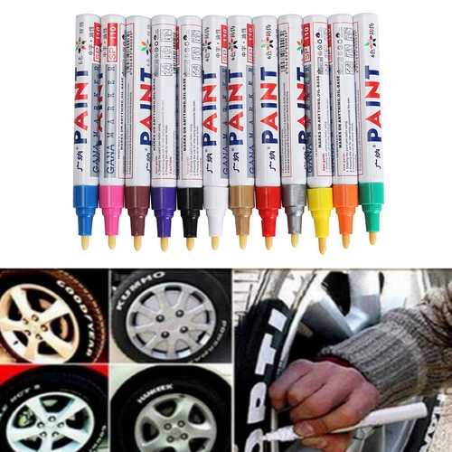 12pcs Color Tyre Permanent Paint Pen Tire Metal Outdoor Marking Ink Marker Trendy