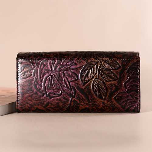 Brenice National Floral Genuine Leather Women Long Wallet