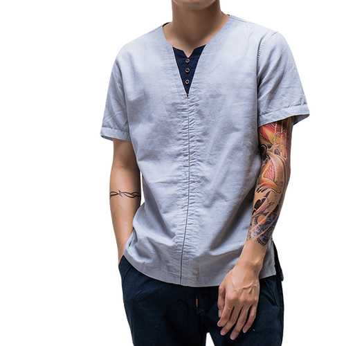 Chinese Style Thin Cotton Linen Solid Color Tops