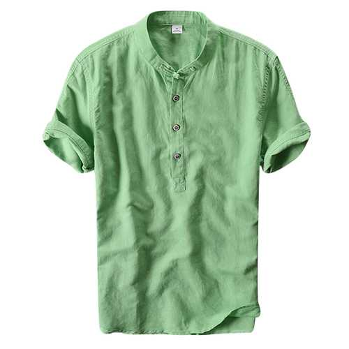 Chinese Wind Mens Casual Cotton Linen Short Sleeved T-shirts