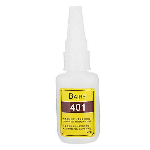 BAIHERE 401 High Strength Quick Drying Low Bloom Plastic Instant Adhesive Glue DIY Crafts 20g