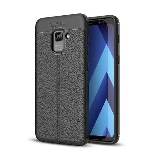 Bakeey Anti Fingerprint Soft TPU Litchi Leather Case for Samsung Galaxy A8 2018
