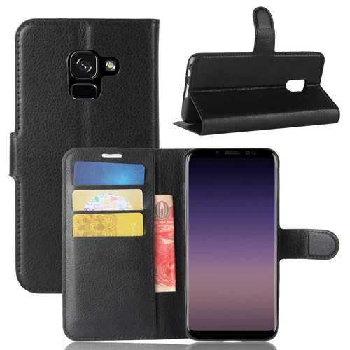 Litchi PU Leather Flip Card Slots Bracket Wallet Case for Samsung Galaxy A8 2018