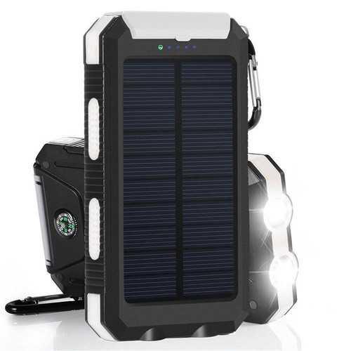 20000mAh DIY Power Bank Portable Solar Charger Case Compass Flashlight Dual USB Port for Cellphone