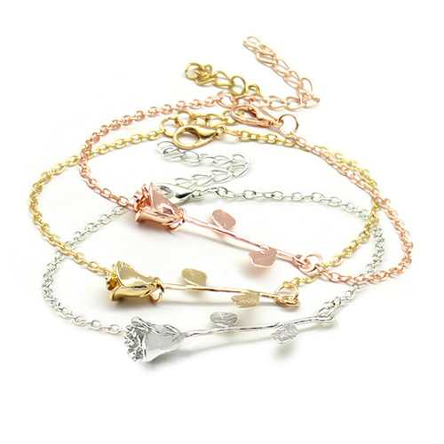 Trendy Rose Gold Silver Plated Flower Chain Bracelets