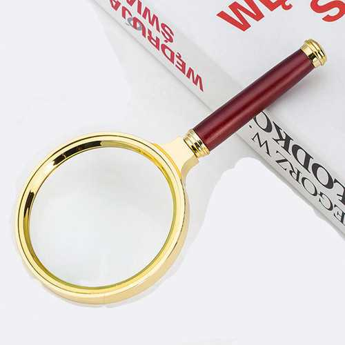 8mm HD 6X Wooden Handle Magnifying Overgild Glasses