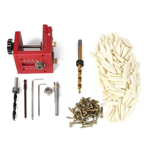 Pocket Hole Drill Guide Dowel Jig Set Woodworking Joinery Master Kit